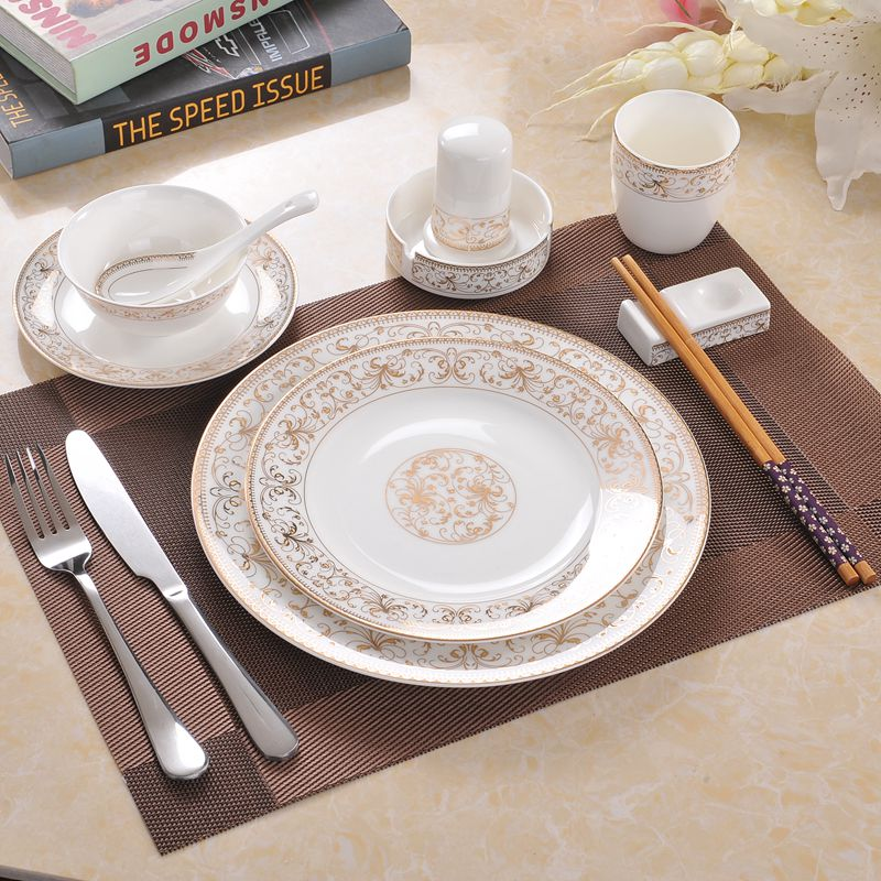 Bone China Tableware Western Steak Plate Set Household Ceramics Creative Soup Bowl Water Cup Spoon Dessert Plate Hotel