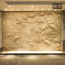Custom sandstone embossed background wall TV fiberglass faux copper embossed mural character animal landscape sculpture dragon medal