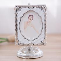 旋转音乐盒冲洗照片定制5寸相片结婚礼送人银色桌摆发条影楼