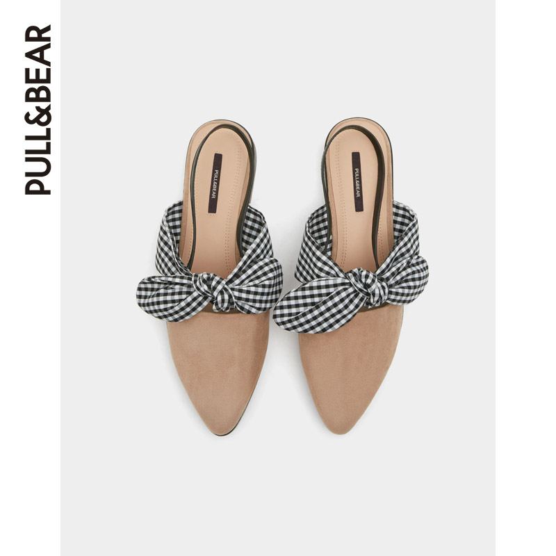 PULL & BEAR Summer Women's Shoes New Pink Butterfly Knot Fairy Wind Sandals Women's Slippers 11427311