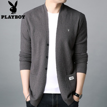 Playboy men's cardigan summer air-conditioned sweater wearing V-neck knitted sweater pure color thin sweater jacket