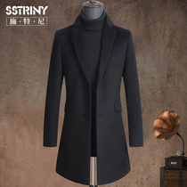 Stenny autumn and winter hair coat mens middle-length version of the suit collar 100% pure wool coat trim coat