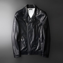 Leather Mens slim Korean version of the handsome spring youth trend oblique zipper lapel motorcycle clothing mens leather jacket coat