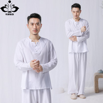 Xin Zen spring and summer yoga clothes suit cotton and linen meditation clothes mens Han hanfu tai chi service residential service meditation clothes