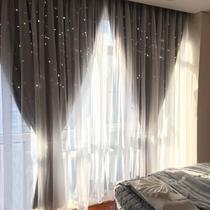 Net rouge paragraphe blackout rideaux ins Princesse vent creux étoiles double chambre Baie fenêtre crochet Nordique étoiles tissu
