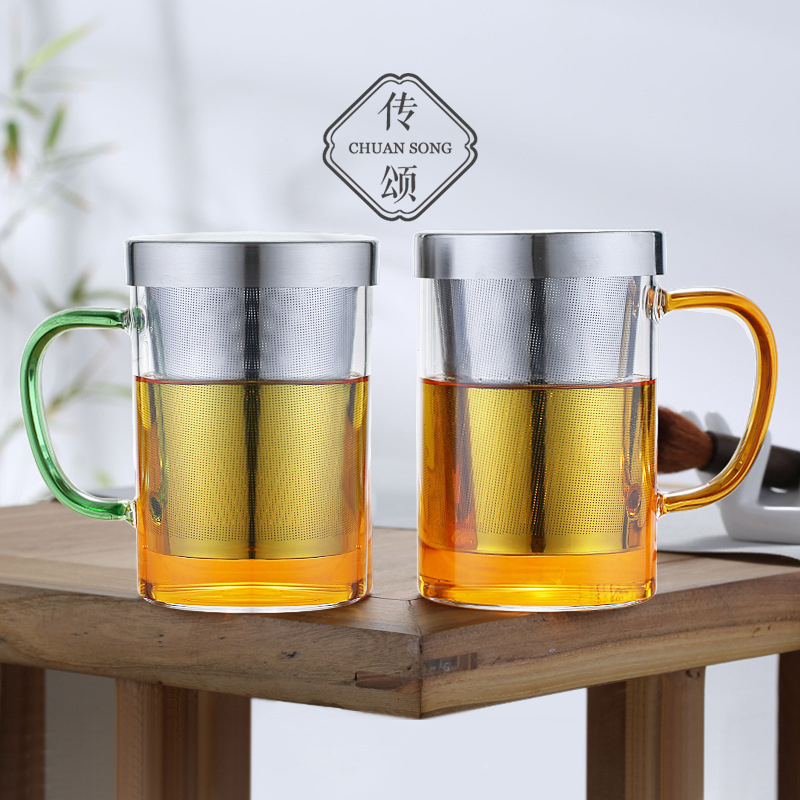 Praise heat-resistant glass water cup large capacity with stainless steel filter home office with cover tea separated tea cup