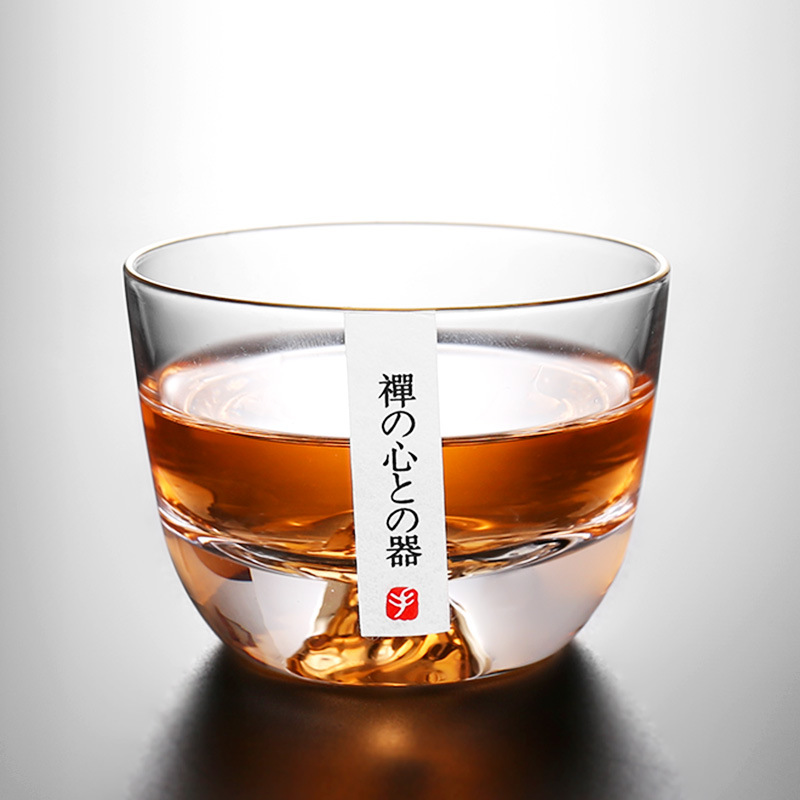 Tribute glass small teacup thick transparent stroke Penh master cup Tibetan gold pressure hand cup tea bowl single cup tasting cup
