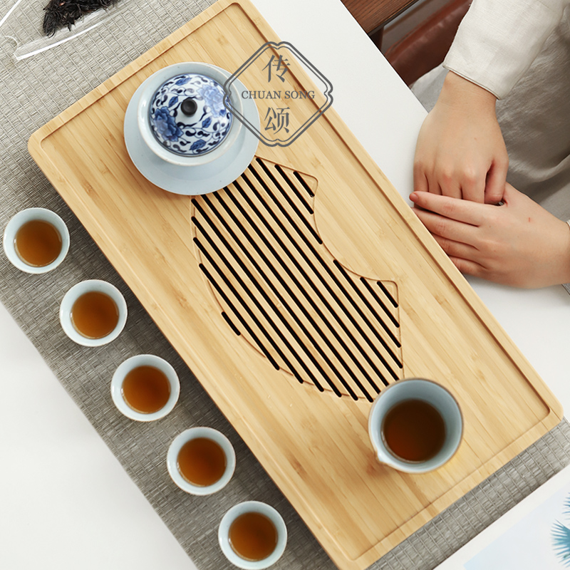 Praise the whole piece of bamboo tea plate Japanese simple water storage drainage two-use tea plate small tea table household tea set