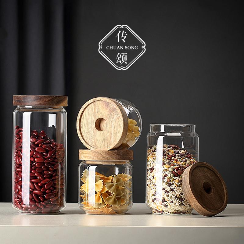 Transparent glass sealed tea can large tea set storage box household bamboo tea can tea box with cover savings tank
