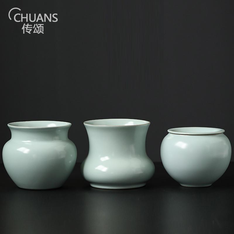 Tribute to the retro water washing sky cyan porcelain tea slag barrel ceramic small built water tea washing Japanese-style enamel water
