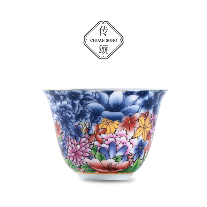 Spread the praise of the colored qinghua porcelain tea plate cup master cup ceramic kung fu tea set single cup small tea cup personal cup