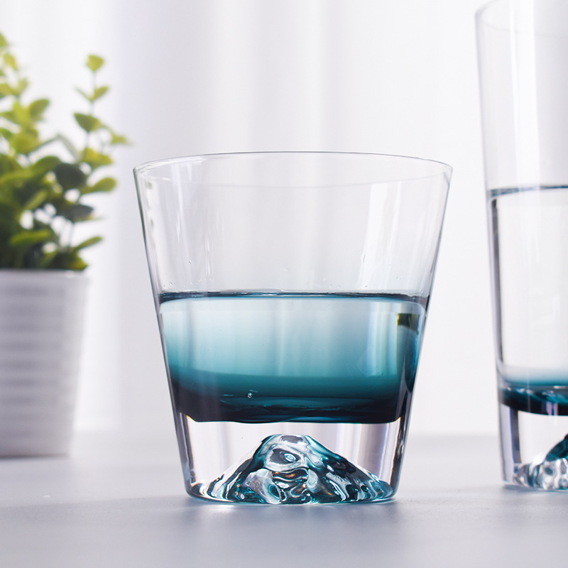 Tribute to the Japanese iceberg cup Mount Fuji glass water cup home ink blue tea cup juice cup simple glass