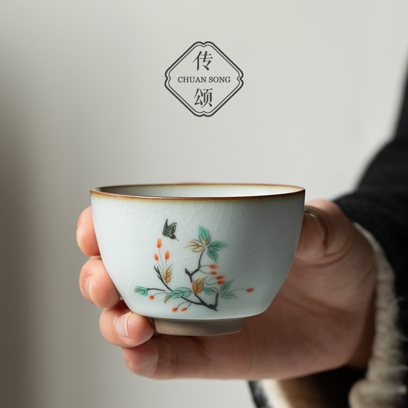 Celebrating ceramic kung fu tea set kiln teacups hand-painted retro open piece single Jane dating guest master cup tasting cup