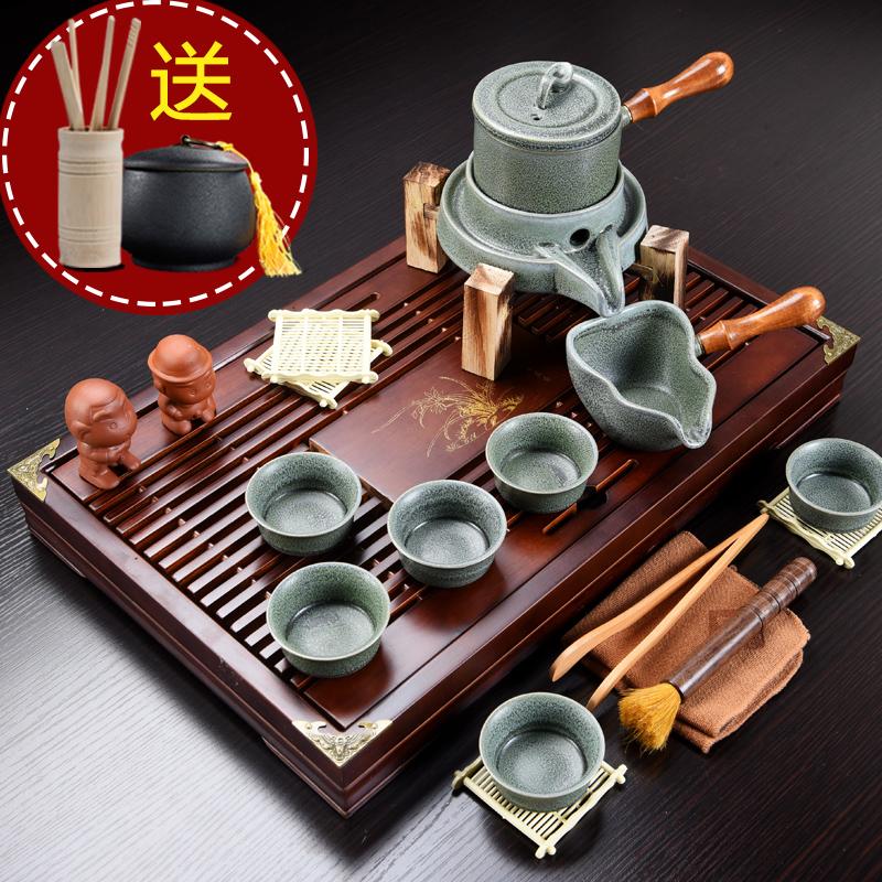 Kung Fu tea set purple sand set home solid wood small tea plate simple drawer-style teacamp tea table