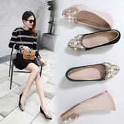 2017 spring new Korean version of the set of feet in the bottom of the mouth of the shallow inside the female shoes increased daily leisure casual shoes