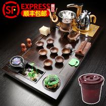 The whole set of tea sets with simple tea table solid wood tea plate fully automatic tea purple sand kungfu tea ceremony tea sea
