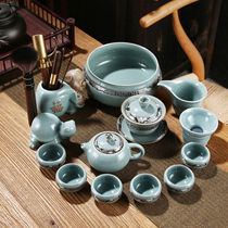 Tea set with a set of kung fu ceramics to open a piece of brother kiln teapot teapot teacout simple retro tea ceremony