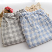 Spring and autumn pants Maternity Pants Japanese classic Plaid pajama pants cotton double yarn Home Furnishing size 200 pounds
