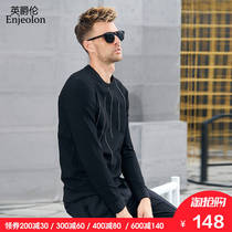 British juelun autumn casual men's Korean fashion embroidery round neck sweater youth striped hedging T-Shirt Shirt