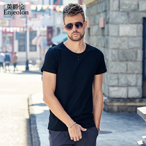 Men's simple casual short-sleeved T-Shirt young button-up round neckline half sleeves top T-Shirt
