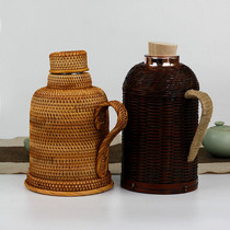 Retro Bamboo rattan shell Thermos bottle Home tea ceremony open kettle glass inner gall insulation pot Thermos shell