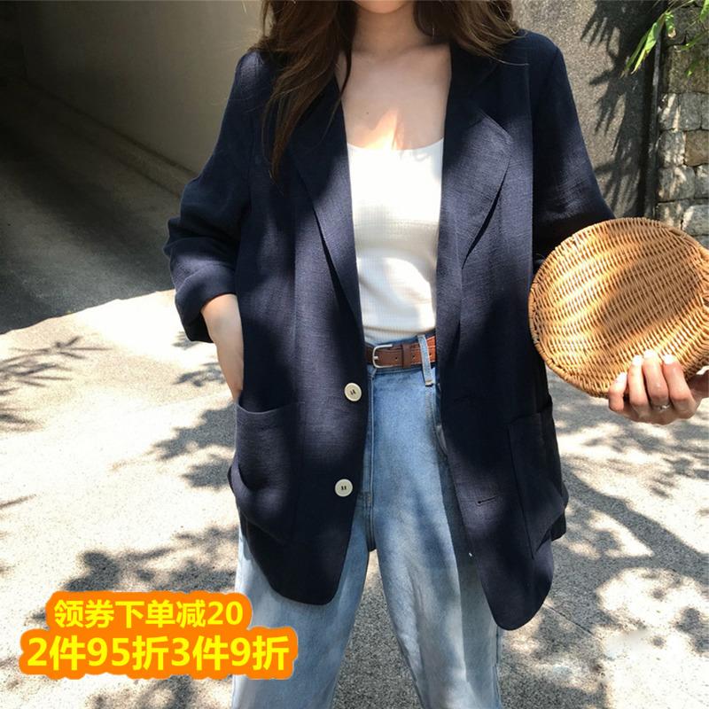 Cotton linen blazer women 2021 spring summer new Korean version loose thin lazy wind casual thin small suit women
