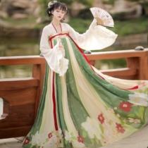 Tsing Yi first look original (Qing language)Han element Qi chest skirt suit Hanfu female printing spring summer and autumn models