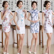 Spring 2017 new girls wedding cheongsam cheongsam dress short summer slim cheongsam dress