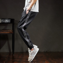 (Autumn New) Tang Lion 2018 Autumn new mens sports trousers men loose casual black ins sport trousers bundle feet
