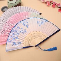Fan folding fan Chinese style womens ancient tassel summer carry classical costume ancient hanfu folding small bamboo fan