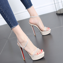 Sandals Female 2019 New Summer Water Drill High-heeled Shoes Female Fine-heeled Waterproof Table Super High-heeled 12CM Euro-American Female Shoes