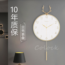 Nordic light luxury deer head 錶 clock home living room fashion creative clock simple personality modern wall wall wall watch