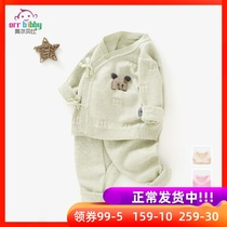 Newborn sweater set spring and autumn thin baby knitted cardigan 0-6 months baby cotton yarn clothes
