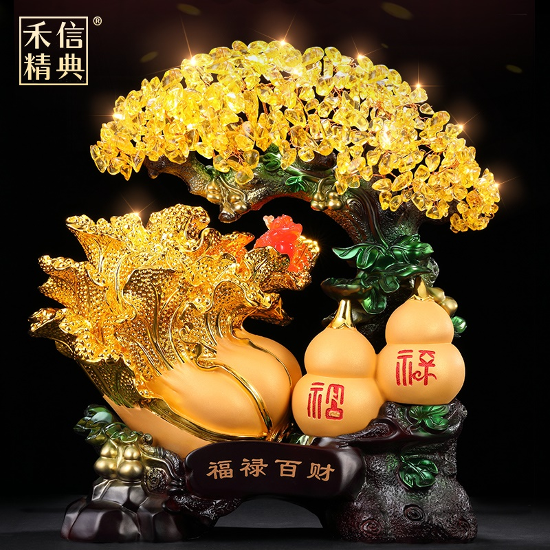 Lucky money tree jade cabbage gourd ornaments opening gifts crystal fortune tree home living room wine cabinet decorations
