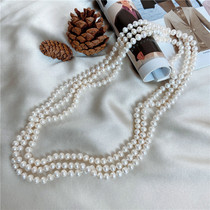Pure feedback old pat extended natural freshwater pearl necklace 7-8mm 1 8 meters long