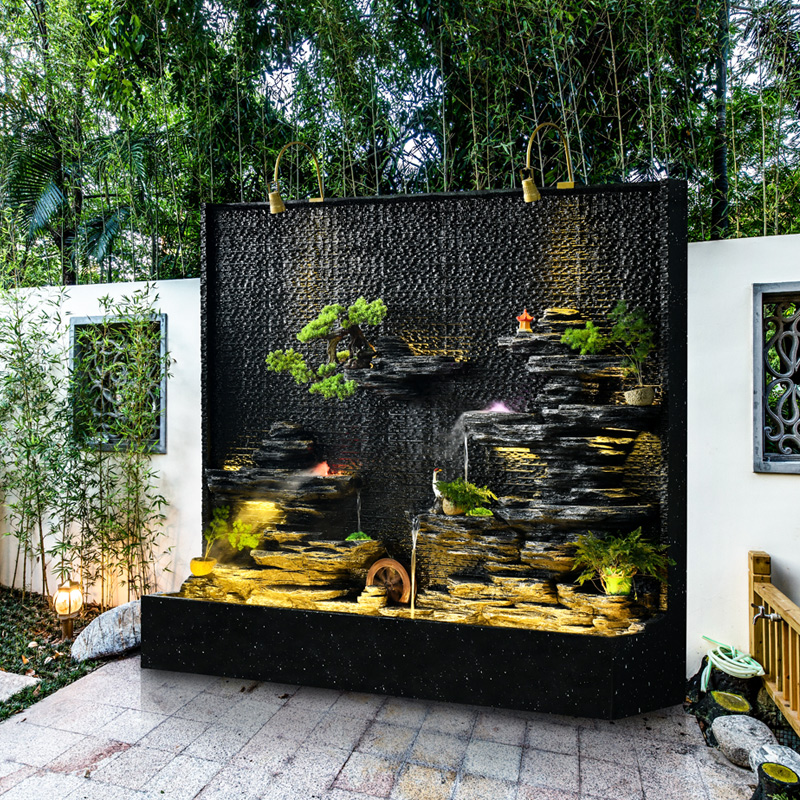 Water curtain wall flowing water wall fountain courtyard water feature hotel decoration company Xuanguan front desk to attract money screen image ornaments