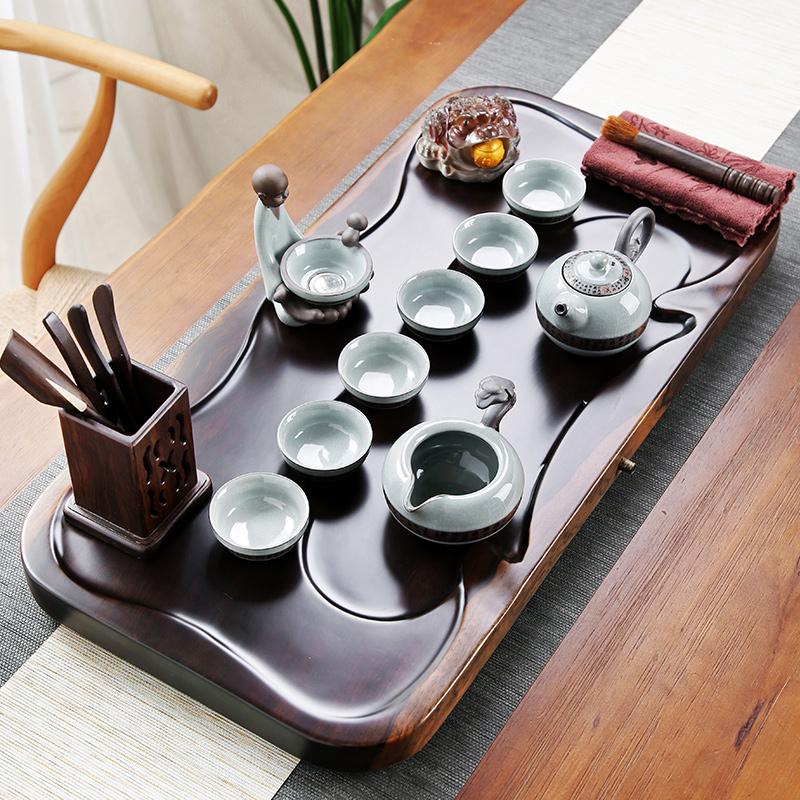 Purple sand ceramic kung fu tea set home tea cup simple office solid wood small tea plate ebony tea table set