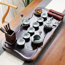 Purple sand ceramic kung fu tea set home tea cup simple office solid wood small tea plate ebony tea table set