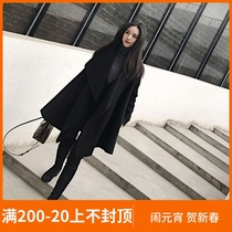 Black high-end double-sided cashmere coat female small man Hepburn Wind irregular woolen cloak jacket in the long section