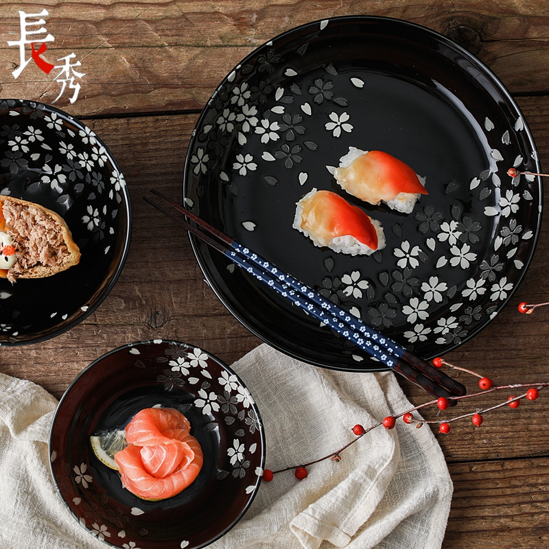 Japanese imports of ceramic tableware Mino burned silver color cherry blossoms deep dish plate shallow Japanese style and wind black plate