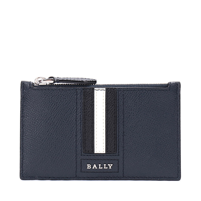 [Shunfeng Baoyou] Bally/Barry Men's Black-and-White Striped Cortical Zero-Purse Card Bag TENLEY LT