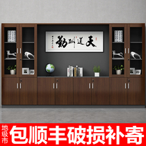 File cabinet Information cabinet Wooden boss bookcase Board file storage storage cabinet Office background document cabinet