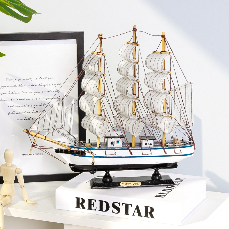 Mediterranean Style Sailing Vessel Model Crafts Simulations Solid Wood Fishing Vessel Small Wood Vessel Decoration Arrangements