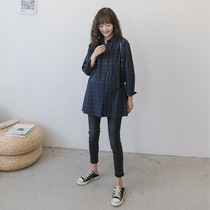 Spring maternity dress spring and autumn section of art long-sleeved plaid shirt cover belly loose large size fat mm fashion dress