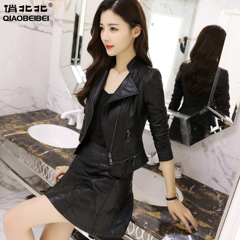 Small leather 2021 new female spring and autumn Korean version of the short jacket high waist stand collar slim thin motorcycle pu leather jacket