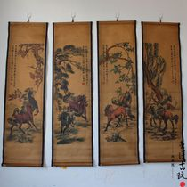 Antique do old Chinese painting painting mural eight horse eight Jun figure four screen decorative painting living room painting has been framed