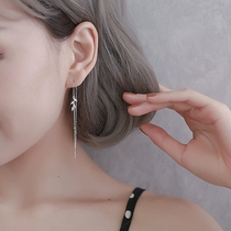 S925 pure silver cold wind earrings female Korean leaf earrings super fairy personality long-style sushi 2020 new trend