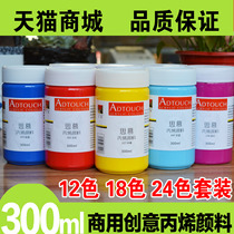Propylene pigment 24 Color set beginner painting painted wall painted textile diy hand-painted white gold black waterproof 300ml bing dilute fluid painting shoes graffiti material