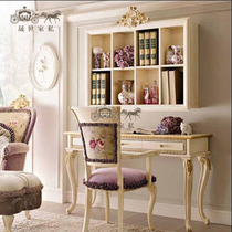 European solid wood book tables and chairs plus bookcase solid wood oak carving cabinets white writing desk computer table cabinets Customizable