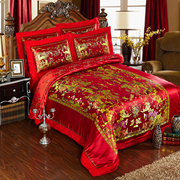 Four sets of silk cotton satin wedding warm quilt fillet thickened AB version 4 piece will brand reputation.